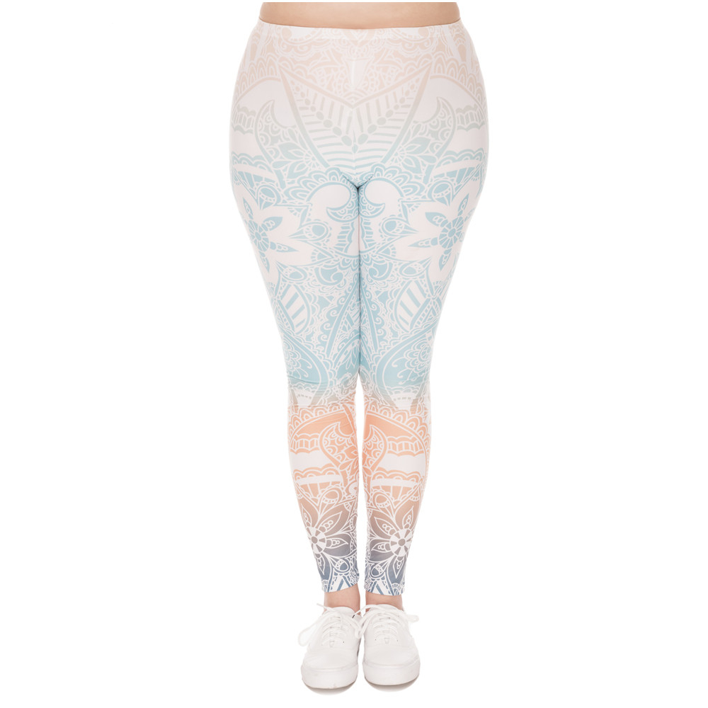 245fe903a6 Cute Blue Mandala Print Ombre Style Plus Size Yoga Leggings - Cute n ...